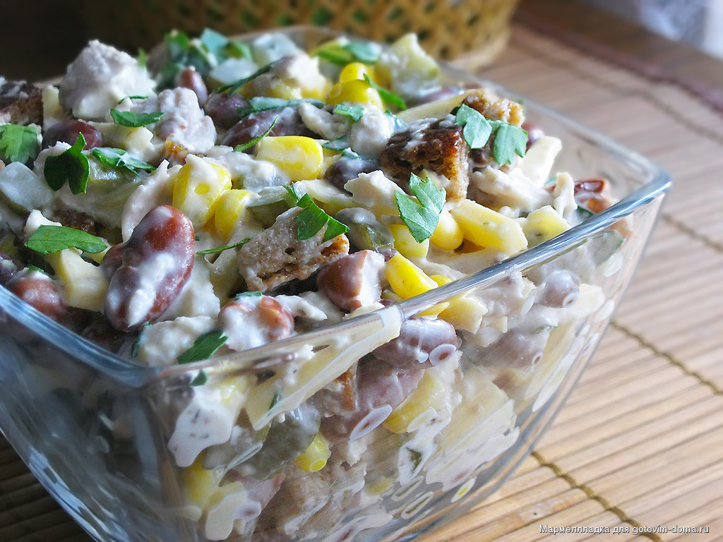 Салат из фасоли консервированной и кукурузой рецепт очень вкусный