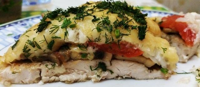 Мясо под шубой в духовке рецепт с фото из курицы